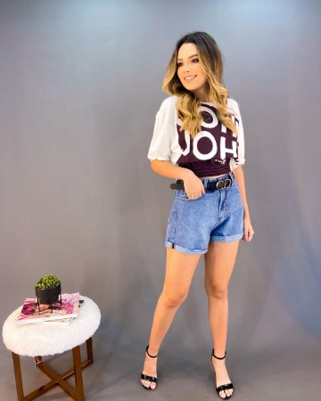 Shorts Jeans Cós Alto Reto Feminino