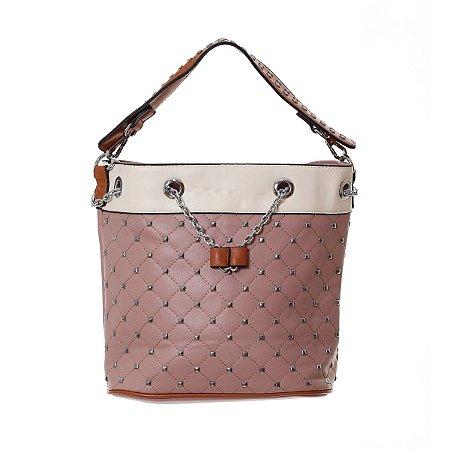 Bolsa Feminina Rosé com Spike e Alças de Mão com Corrente Prata