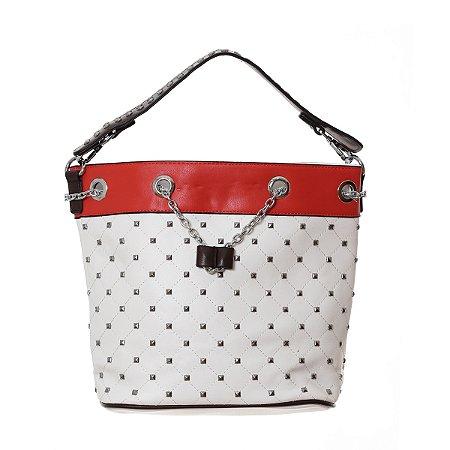 Bolsa Feminina Branca com Spike e Alças de Mão com Corrente Prata