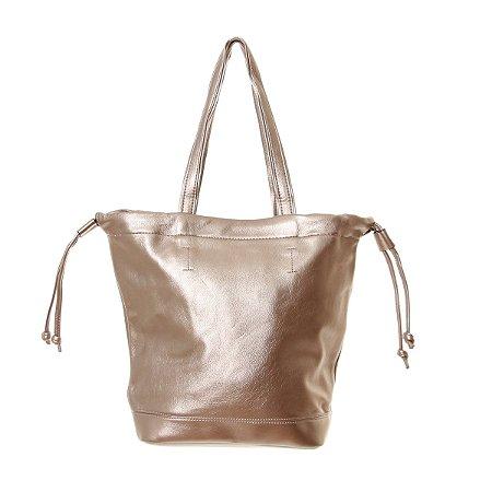 Bolsa Feminina Dourada com Alça de Mão e Ombro