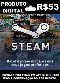 R$53 de Saldo para Steam