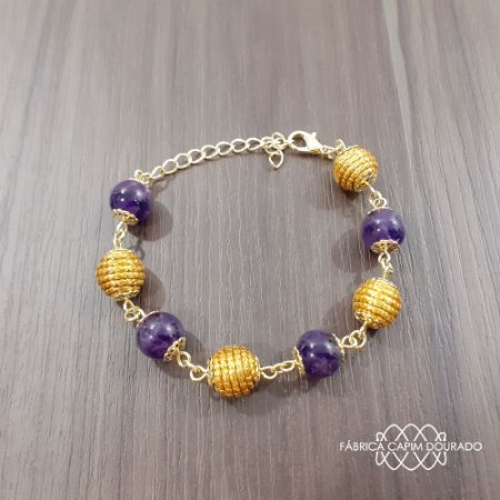 Pulseira Capim Dourado c/ Pedra Natural Ametista Cód. P404 - Hipoalergênico