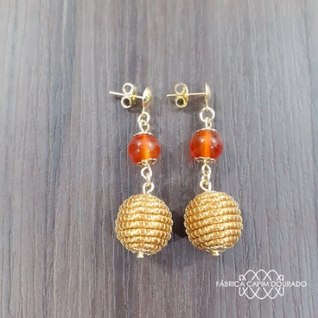 Brinco Capim Dourado C/ Pedra Natural Ágata Cornalina Cód. B401 - Hipoalergênico