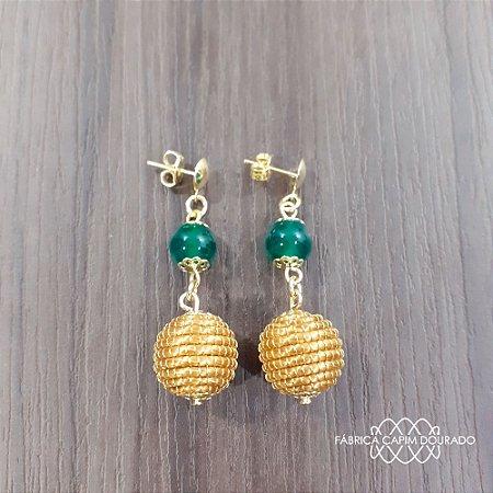Brinco Capim Dourado C/ Pedra Natural Ágata Verde Cód. B412 - Hipoalergênico