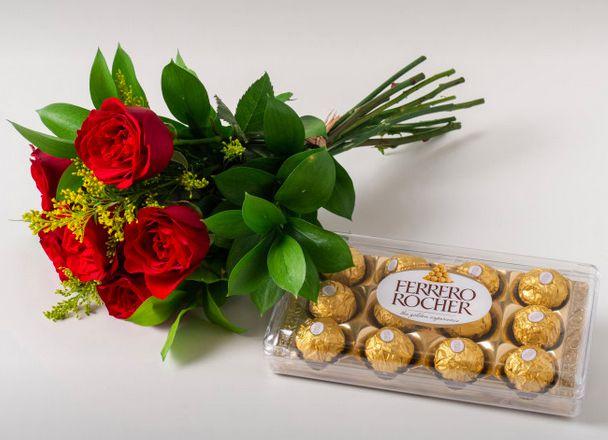 Buque de Rosas vermelhas M com Chocolate