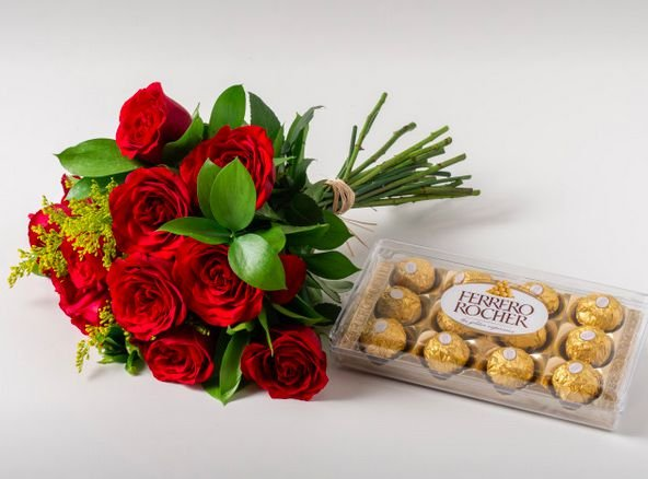Buque de Rosas vermelhas G com Chocolate