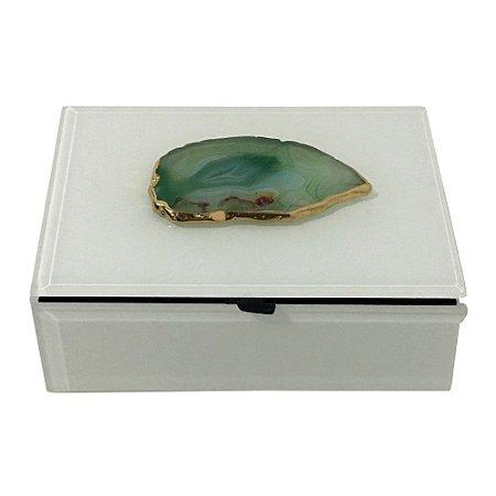 Caixa Decorativa Branca Pedra verde