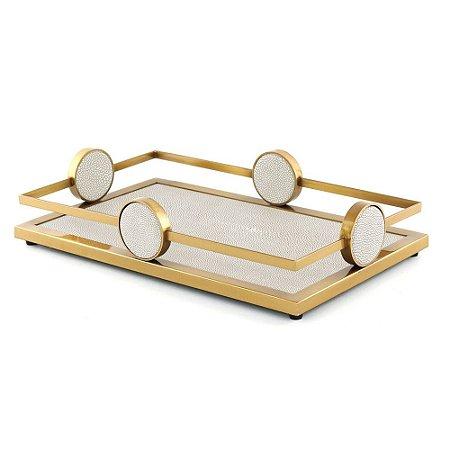 Bandeja Metal Dourado e Cinza