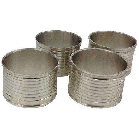 Conjunto Porta Guardanapo Metal Frisos 4 Pçs