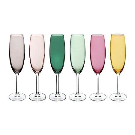 Conjunto Taças Champagne Coloridas 6 Pçs
