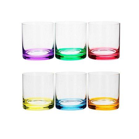 Conjunto Copos para Whisky  de Cristal  Colorido 6pçs