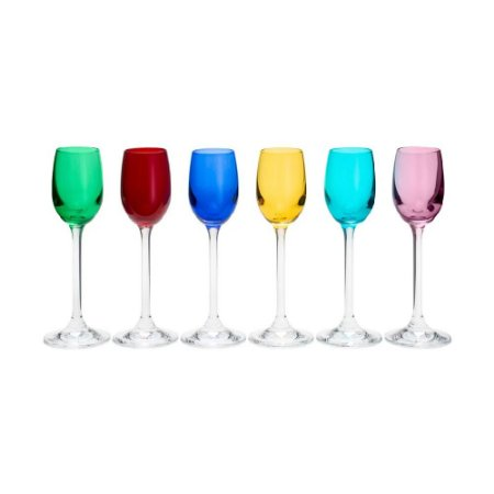Conjunto Taças Licor de Cristal  Coloridas 6 Pçs