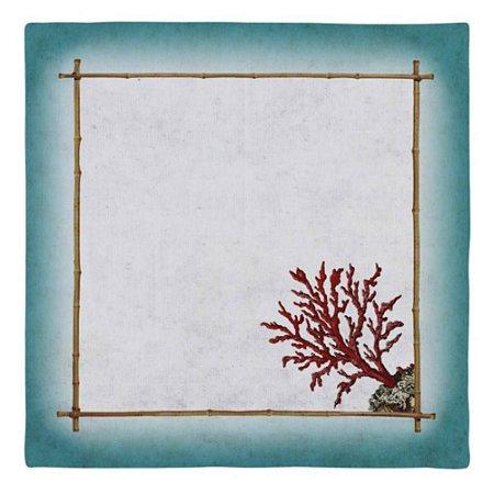 Conj. Guardanapo Sardenha Turquesa c/Coral 6pçs