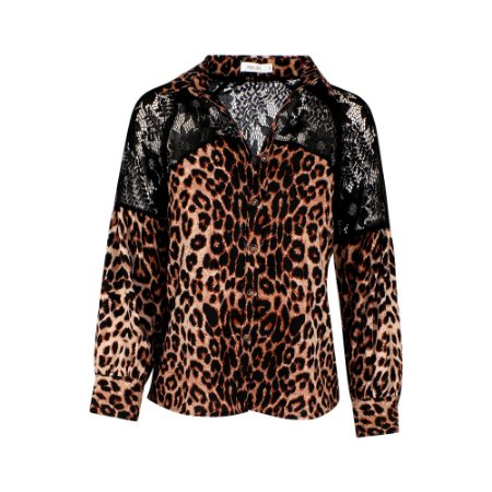 CAMISA RENDA VAZADA ANIMAL PRINT