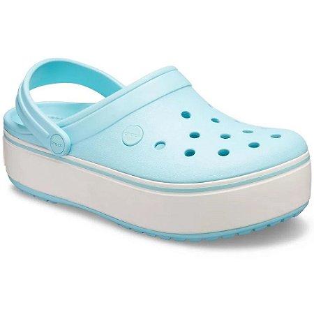 SANDALIA FEMININO CROCS 205434 PLATFORM CLOG ICE BLUE