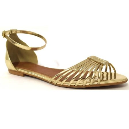 SANDALIA FEMININO VIA SCARPA 9570 LAMINA/LIGHT/GOLD