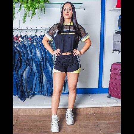 CONJUNTO FEMININO MARIA DONDOCA 49093 PRETO/CINZA