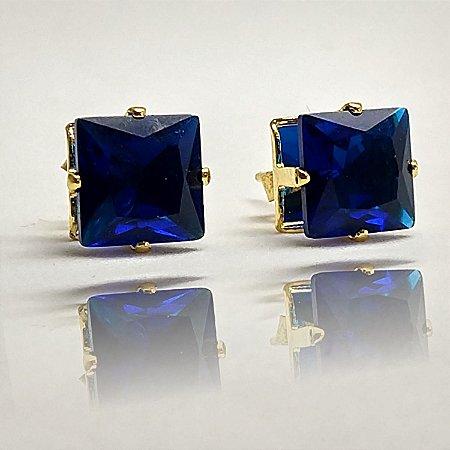 Brinco Pequeno Delicado com Pedra de Zircônia Azul