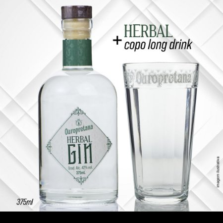 KIT - Gin Old Tom 375ml + Copo long drink Vidro - 450ml