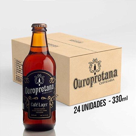Caixa c/ 24 unidades - Cerveja Ouropretana Café Lager  330ml