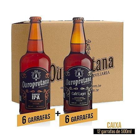 Caixa mix c/ 12 unidades - Ginger + Café Lager Ouropretana 500ml