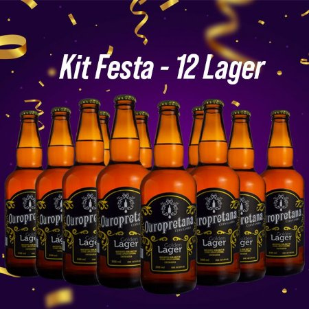 Kit Festa - 12 Ouropretanas Golden Lager 500ml