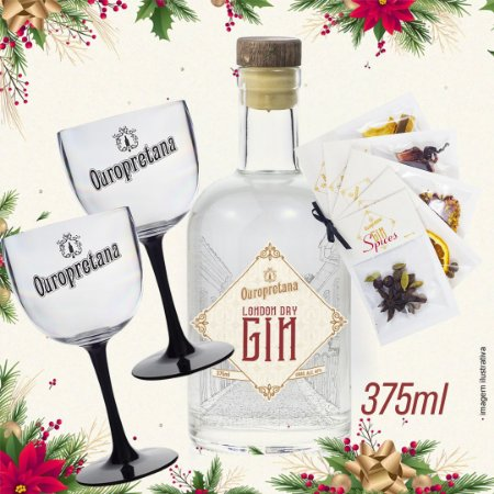Kit - Gin London Dry Ouropretana 375ml + 2 Taças acrílico + Spices