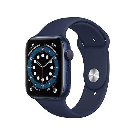 Apple Watch Series 6 GPS 44mm Alumínio Azul Pulseira Deep Navy