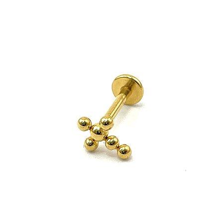 Piercing - Labret - Titânio - Gold PVD 24K - Rosa Interna - Espessura 1.2 mm