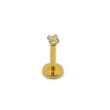 Piercing - Labret - Titânio - Gold PVD 24K - Zircônia - Rosa Interna - Espessura 1.2 mm