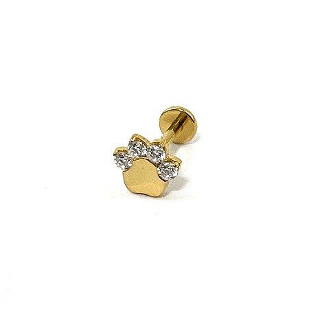 Piercing - Labret - Titânio - Gold PVD 24K - Zircônia - Rosa Interna - Patinha - Espessura 1.2 mm