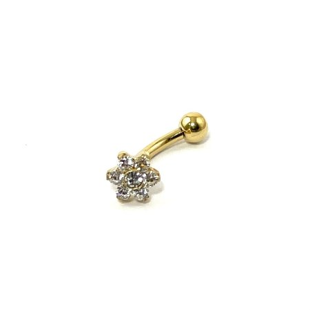 Piercing - Titânio - Microbell Curvo - Rook  - Gold PVD 24K - Zircônia- Flor - Espessura 1.2 mm