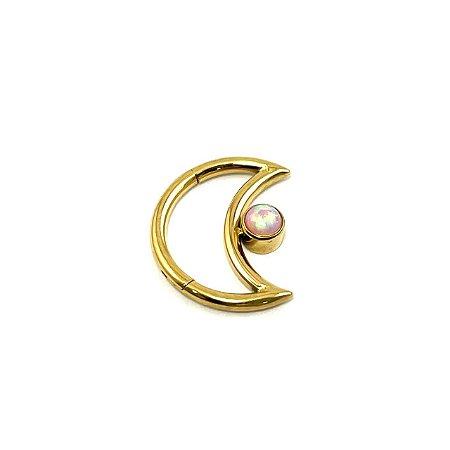 Piercing  Titânio - Lua - Daith  - Gold PVD 24K - Opala Sintética - Espessura 1.2 mm