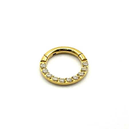 Piercing - Argola - Segmentada - Articulada - Clicker - Cravejada - Titânio - Gold PVD 24K - Zircônia - Espessura 1.2 mm