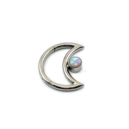 Piercing  Titânio - Lua - Daith - Opala Sintética - Espessura 1.2 mm