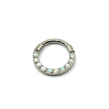 Piercing - Argola - Segmentada - Articulada - Clicker - Titânio - Opala Sintética - Espessura 1.2 mm