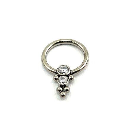 Piercing - Captive - Titânio - Zircônia - Espessura 1.2 mm