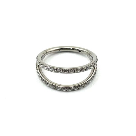 Piercing Titânio - Argola - Segmentada - Clicker - Cravejada - Zircônia - Duplo  - Espessura 1.2 mm