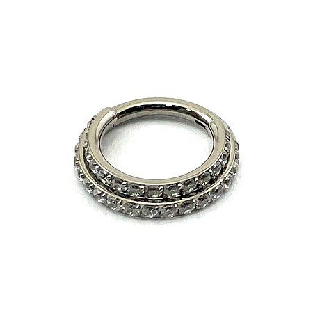 Piercing  Titânio - Argola -Duplo - Segmentada  - Clicker - Cravejada - Zircônia - Espessura 1.2 mm