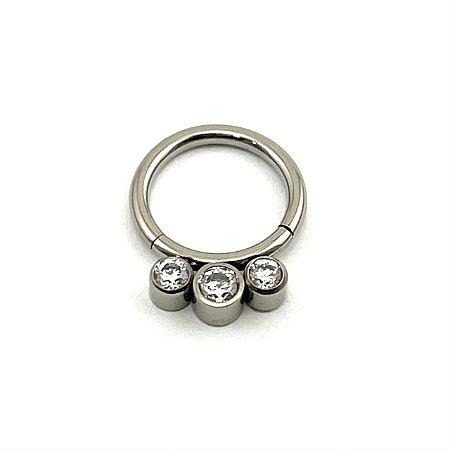 Piercing - Argola - Segmentada - Articulada - Clicker - Titânio - Zircônia - Espessura 1.2 mm