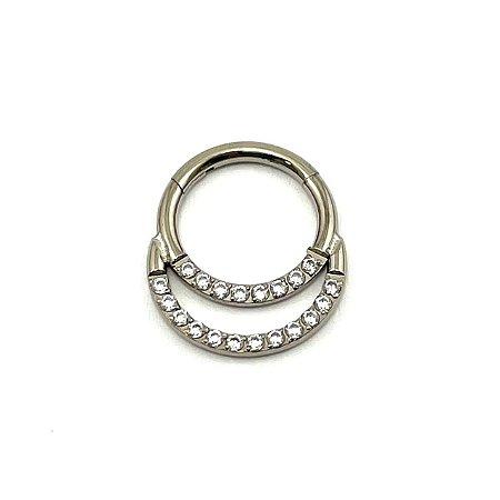Piercing Titânio - Argola - Segmentada - Clicker - Cravejada - Zircônia - Duplo  - Septo - Espessura 1.2 mm