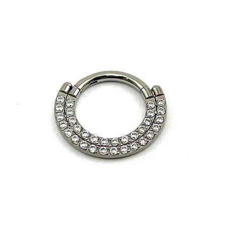 Piercing  Titânio - Argola - Segmentada - Clicker - Cravejada - Zircônia - Espessura 1.2 mm