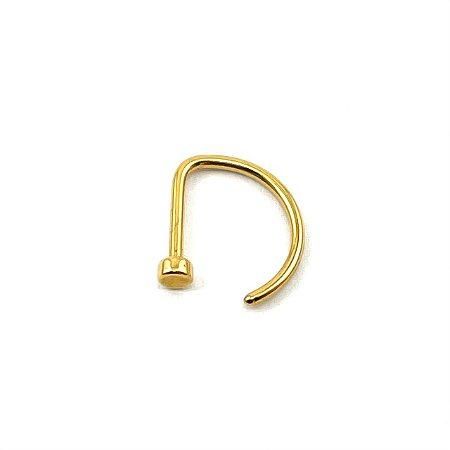 Piercing/Aço/D Ring/Nariz/Gold PVD 24K/0.8mm
