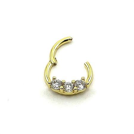Piercing - Argola - Articulada - Clicker - Aço Cirúrgico - Gold PVD 24K - Zircônia - Espessura 1.2 mm
