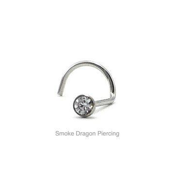 Piercing - Aço Cirúrgico - Nostril - Pedra de Zirconia 2.3mm - Espessura 0.6mm
