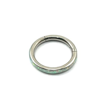 Piercing Titânio - Argola - Segmentada -  Opala Sintética Lateral - Clicker   - Espessura 1.2 mm