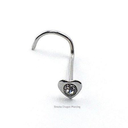 Piercing - Nostril Nariz - Aço Cirúrgico - Coração de aço c/ Pedra de strass branca