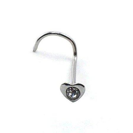 Piercing - Aço Cirúrgico - Nostril Nariz  - Pedra de strass branca - Espessura 0.6mm