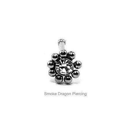 Piercing - Aço Cirúrgico -Nostril Reto - Ornamental c/ Pedra de Zircônia Branca - Espesura 0.6mm