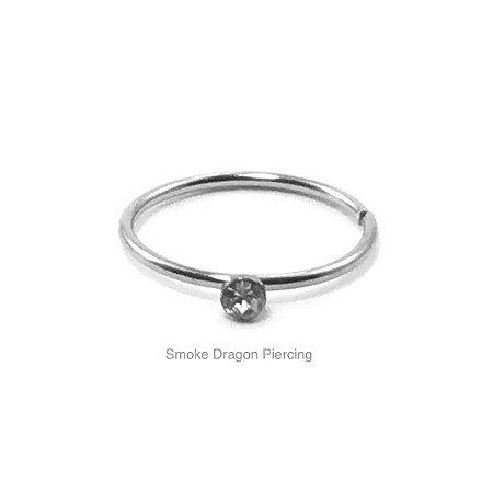 Piercing - Argola Nariz  - Aço Cirúrgico - Pedra de Strass Branca